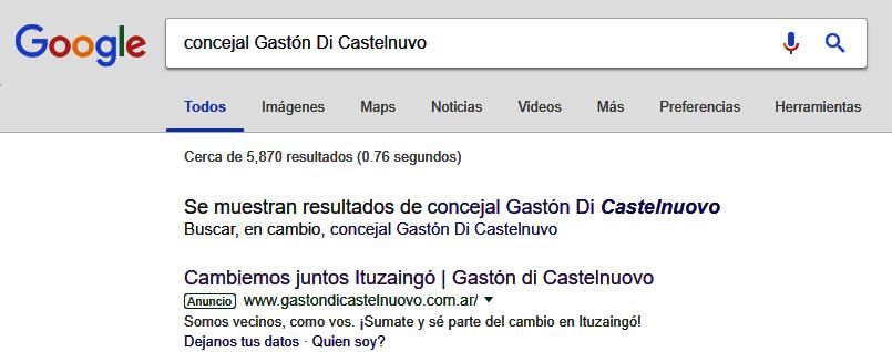María Eugenia Vidal Gabriel Pozzuto Gastón di Castelnuovo Ituzaingó