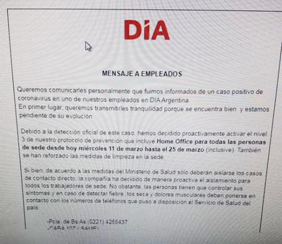 Supermercado DIA confirmó un caso