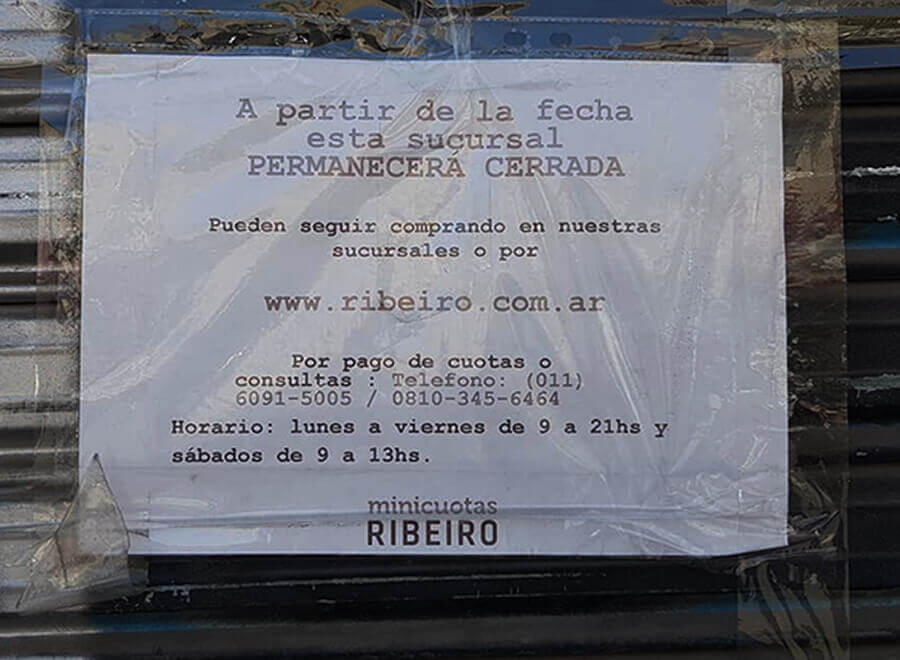 Ribeiro Morón: También cerró la firma de electrodomésticos