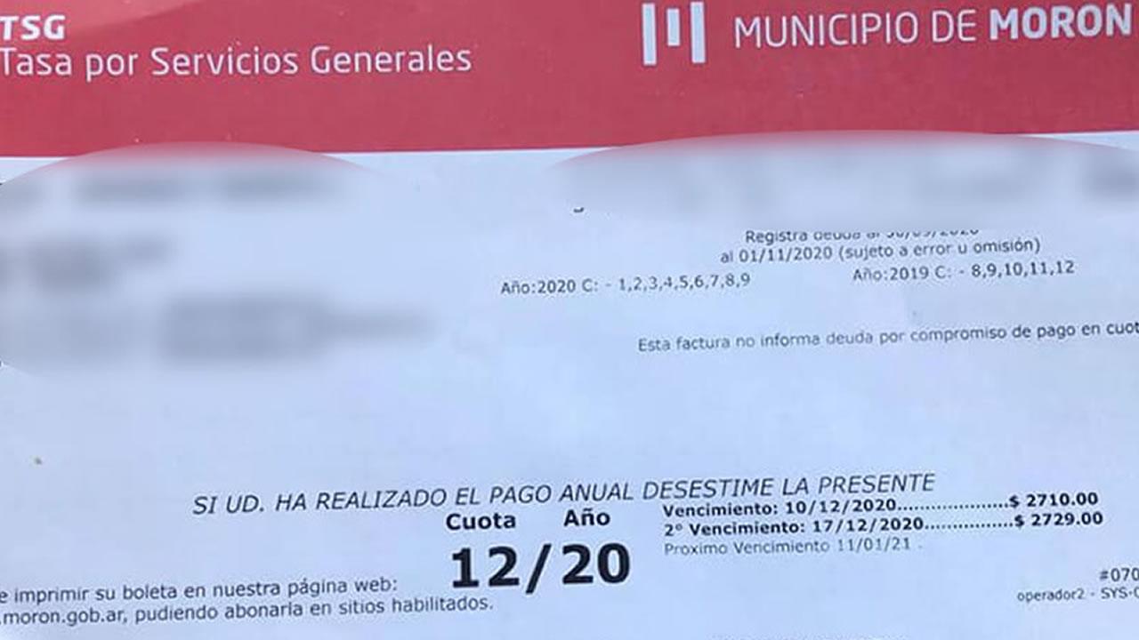 Morón: nueva prórroga para el pago de Tasas por Servicios Generales