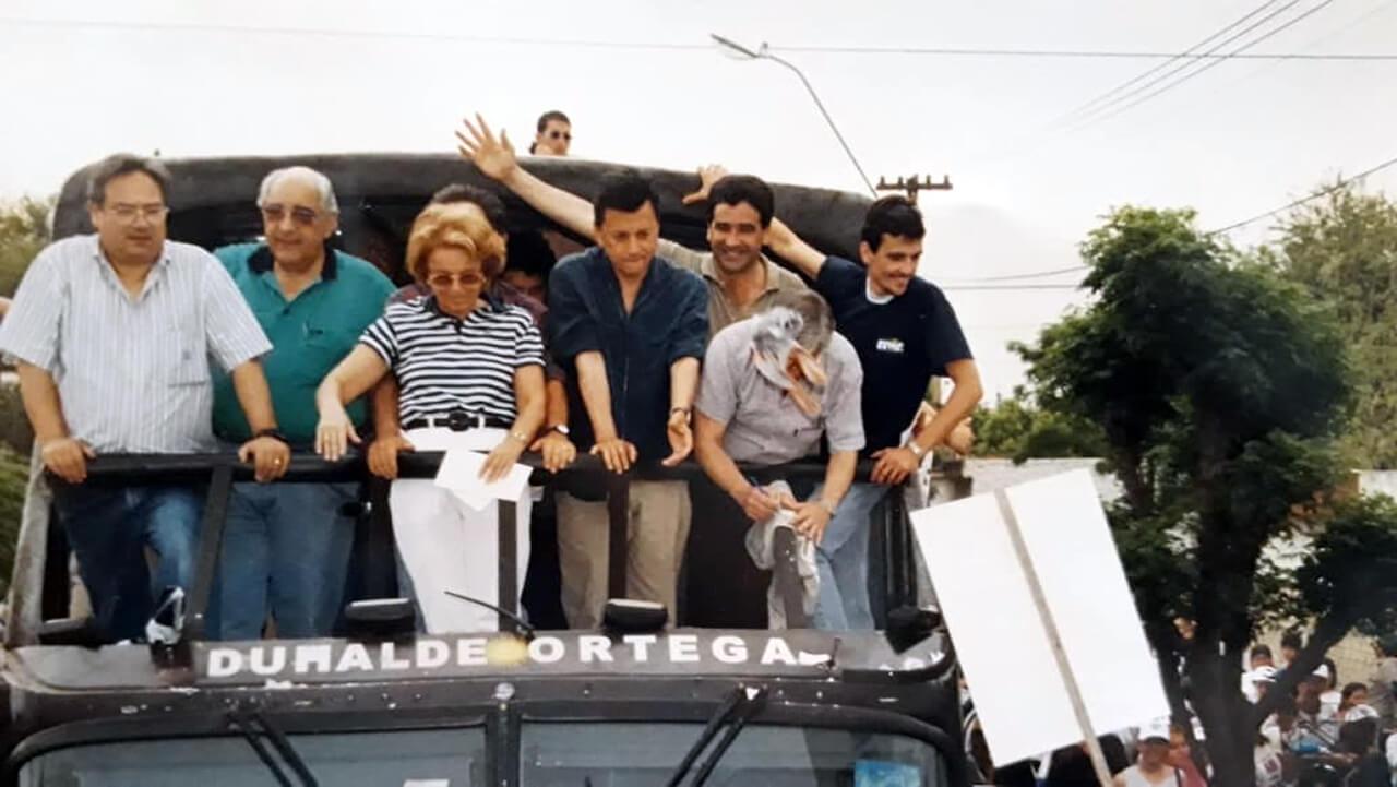 1999 - Campaña en Morón, Horacio Román, Roberto Maldondado, Chiche Duhalde, Luis Pereyra y Juan Zabaleta