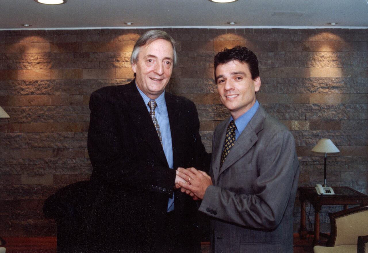 2003 - Con Néstor Kirchner en la Casa de Santa Cruz