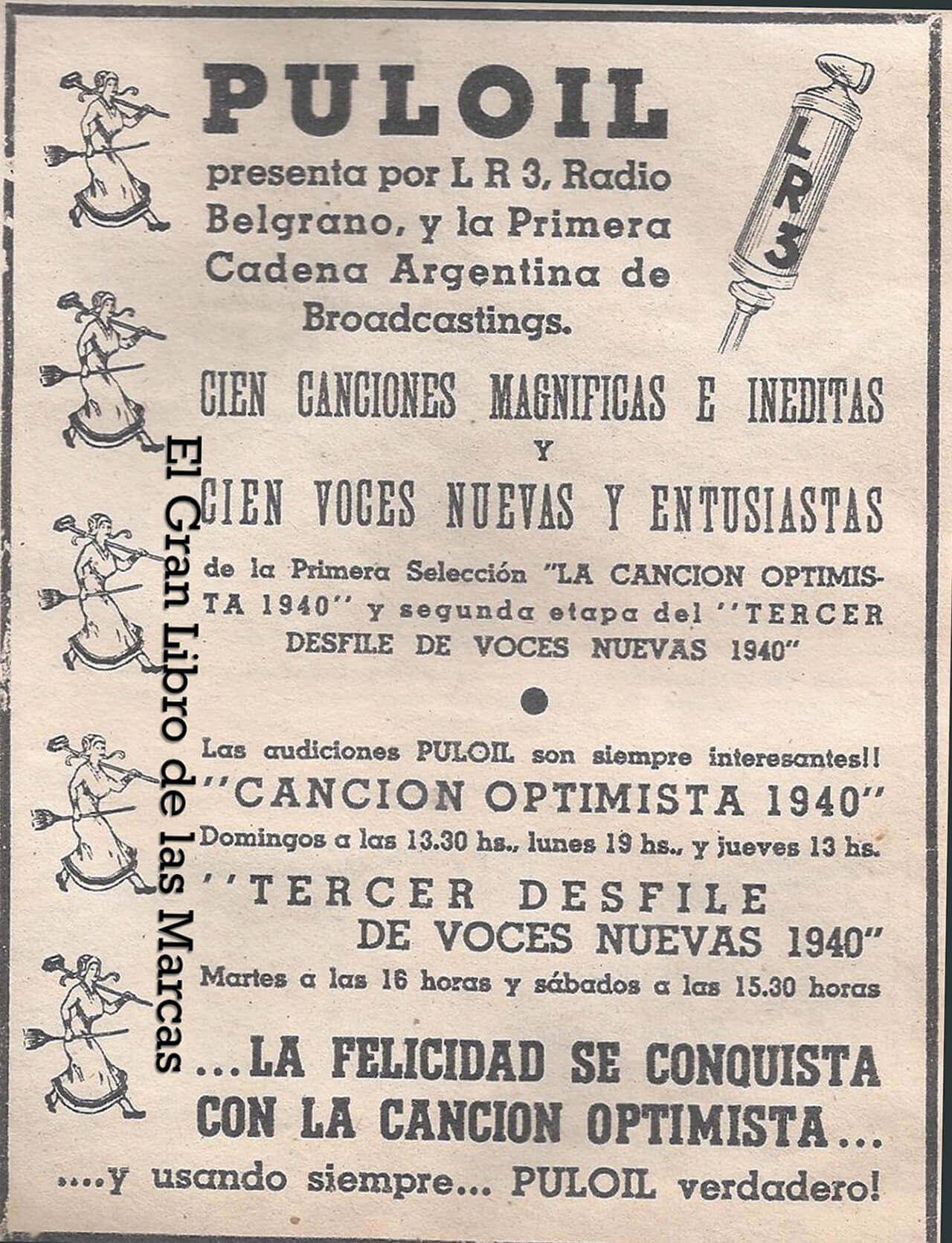 Anuncio de 1940 sobre un programa en LR3 Radio Belgrano